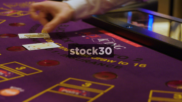 Cards Dealt On Gaming Table In Casino