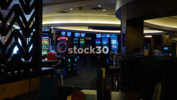 Zoom In To Slot Machine Area In Casino