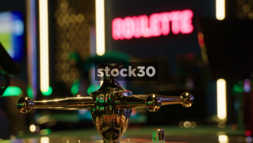 Roulette Wheel Handle Spinning In Casino