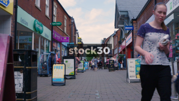 Shoppers On Castle Walk In Newcastle Under Lyme, UK