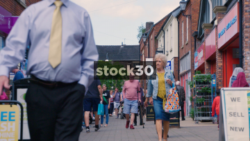 Slow Motion Close Up Of Shoppers On Castle Walk In Newcastle Under Lyme, UK