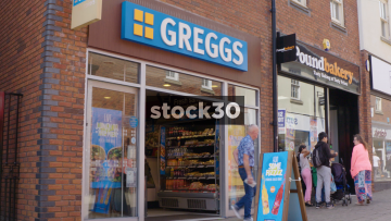 Greggs Bakery And Pound Bakery On Castle Walk In Newcastle Under Lyme, UK