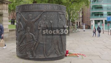 The Hillsborough Disaster Memorial In Liverpool. Wide Pan. UK
