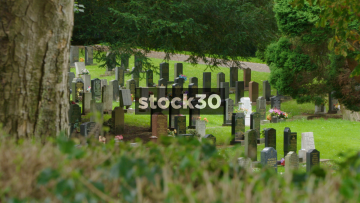 Grave Stones In Stoke Cemetery, Wide And Close Up, UK