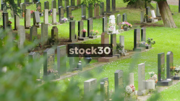 Grave Stones Viewed Through Trees At Stoke Cemetery, 2 Shots, UK