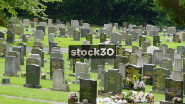 Grave Stones In Stoke Cemetery. Slow Zoom Out, UK