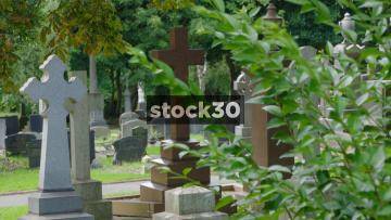Stone Cross Gravestones In Stoke Cemetery, UK
