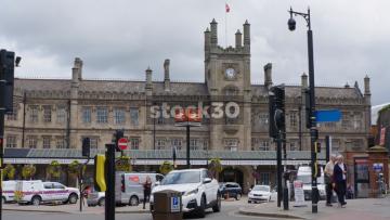 Shrewsbury Railway Station, Wide Shot And Close Up On Sign, UK