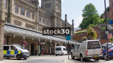 Shrewsbury Railway Station, Wide Shot And Close Up On National Rail Flag, UK