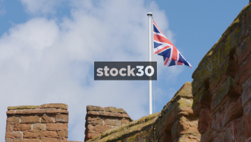 Union Jack Flag On Top Of Shrewsbury Castle, UK