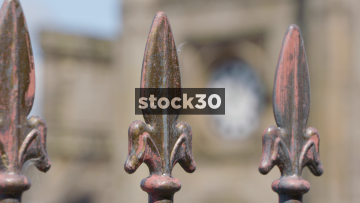 Shrewsbury Railway Station Clock, Focus Pull Through Railings, UK