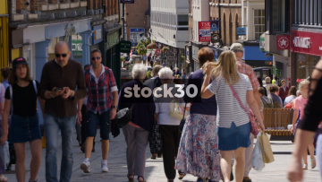 Slow Motion Shot Of Shoppers On Pride Hill In Shrewsbury, UK