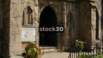 Entrance To St Alkmunds Church In Shrewsbury, UK
