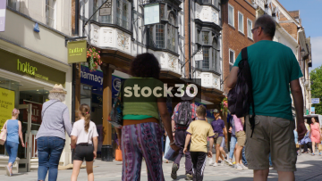 Shoppers On Pride Hill In Shrewsbury, UK