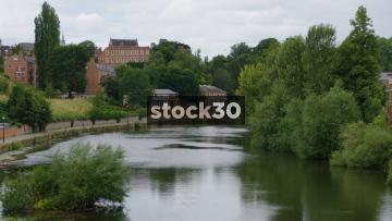 The River Severn In Shrewsbury, Wide Shot, UK