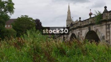 English Bridge With River Reeds In Shrewsbury, UK