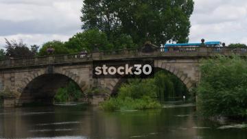English Bridge In Shrewsbury With Traffic Passing Over, UK