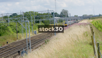 Electric Virgin Train Passing By Near Crewe, UK
