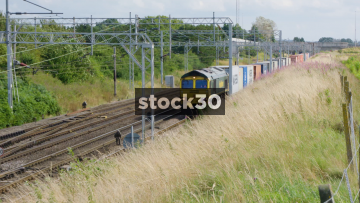 Freightliner Freight Train Passing By Slowly Near Crewe, UK