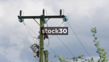 Overhead Power Lines, Close Up And Wide, UK
