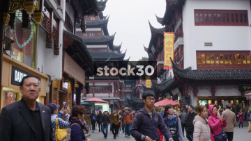 Busy Shopping Area Near Yu Garden In Shanghai, China