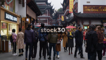 Slow Motion Shot Of Shoppers Near Yu Garden In Shanghai, China