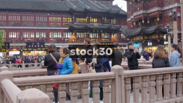 Wide Shot Of Yu Garden Shopping Area In Shanghai, China