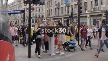 Slow Motion of Pedestrians crossing at Oxford Circus In London, UK