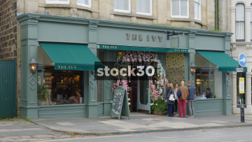 The Ivy Restaurant In Harrogate, Wide Shot And Close Up On Sign, UK