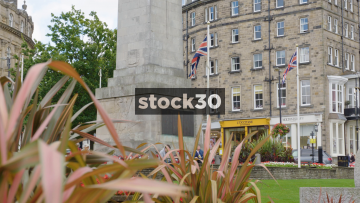 War Memorial And Union Jack Flags In Harrogate, UK
