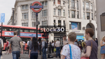 Oxford Circus Tube Station Entrance In London, UK
