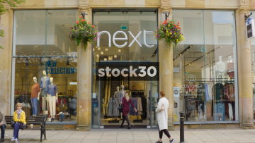 Next Store On Market Place In Harrogate, Wide Shot And Close Up On Sign, UK