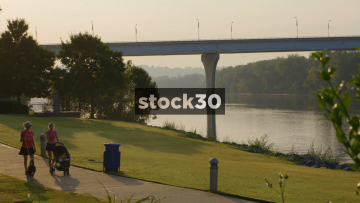 Veterans Bridge Over Tennessee River Viewed From Coolidge Park, Chattanooga, USA