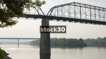Two Shots Of Walnut Street Bridge Over Tennessee River In Chattanooga, USA