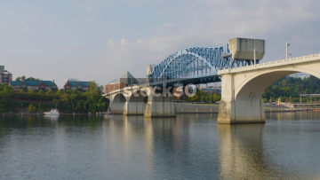 Panning Shot Of John Ross Bridge Over Tennessee River In Chattanooga, USA