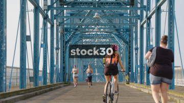 Slow Motion Shot Of People Cycling, Walking And Jogging On Walnut Street Bridge In Chattanooga, Tennessee, USA