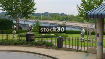 Sculpture Park Near Veterans Bridge In Bluff View Art District, Chattanooga, Tennessee, USA