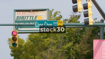 Choo Choo Ave Road Sign, Traffic Lights And Junction, Chattanooga, Tennessee, USA