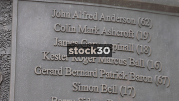 The Hillsborough Disaster Memorial In Liverpool. Close up on names. UK