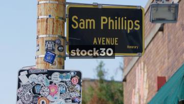 Sam Phillips Avenue And Sun Studio In Memphis, Tennessee, USA
