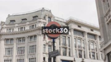 Slow Zoom In On London Underground Sign, UK