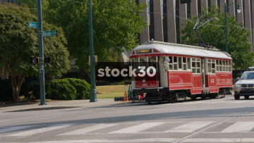 Tram Arriving At Platform On South Main Street In Memphis, Tennessee, USA