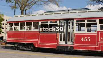 Tram Departing From Platform On South Main Street In Memphis, Tennessee, USA