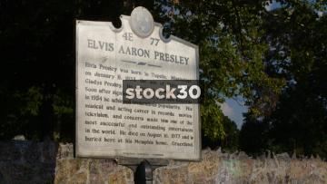Elvis Aaron Presley Memorial Plaque Outside Graceland In Memphis, Tennessee, USA