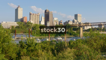 The City Of Memphis, Tennessee Viewed From Mud Island Park By The Mississippi River, USA