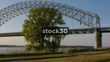 Panning Shot Of Hernando De Soto Bridge Over The Mississippi River, USA