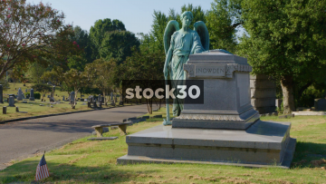 Grave With Angel In Elmwood Cemetery, Memphis, Tennessee, USA