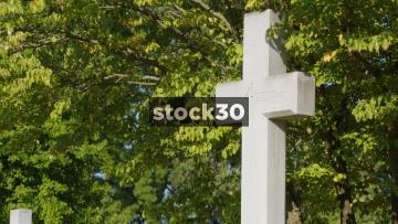 Large Stone Cross Gravestone In Elmwood Cemetery, Memphis, Tennessee, USA