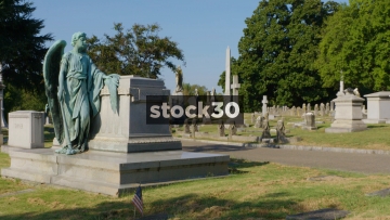 Wide Shot Of Various Grave Stones In Elmwood Cemetery, Memphis, Tenessee, USA