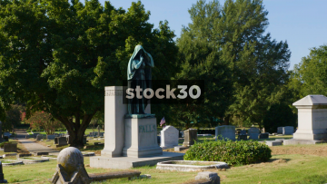 Zoom In To Statue On Grave In Elmwood Cemetery, Memphis, Tennessee, USA